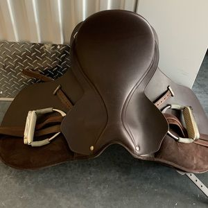 Chocolate brown synthetic saddle